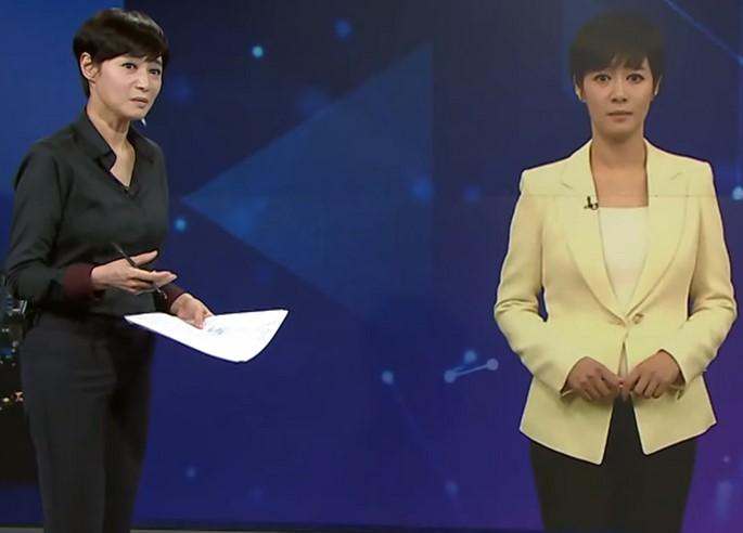 Une présentatrice virtuelle anime un journal télévisé
